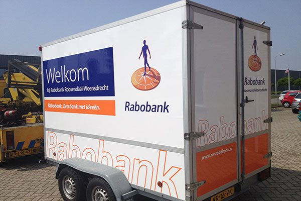 Rabobank aanhanger belettering